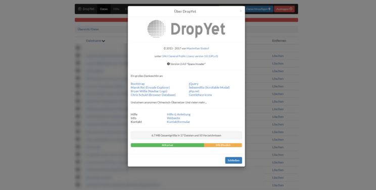 Informationsübersicht DropYet Version 2.4.0 - DropYet
